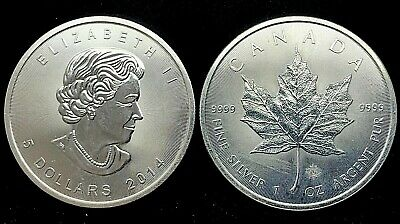 2014 Canadian Maple Leaf 5 Dollar BU Coin- 1oz Silver 1 Troy Oz .9999 Bullion.