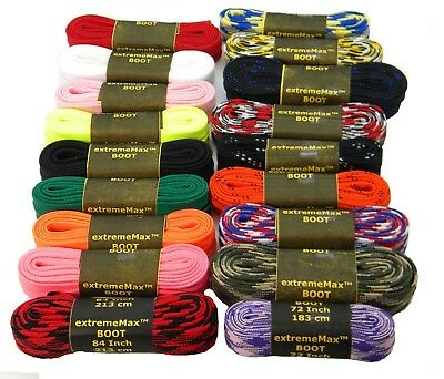 2 Pair- Retro Hockey skate Laces extremeMAX(tm) flat 10mm wide tube style *NEW
