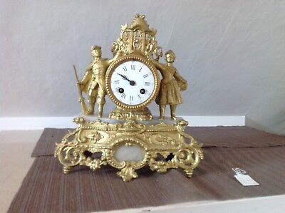 Nice Gilt Painted And Alabaster Mantle Clock French Marti & Cie 1875.