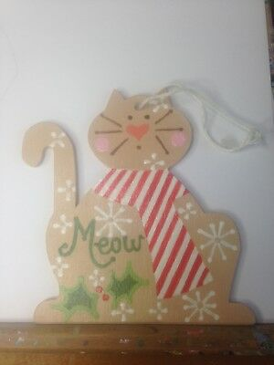 Adorable Wooden Hand Painted Cat Christmas Ornament