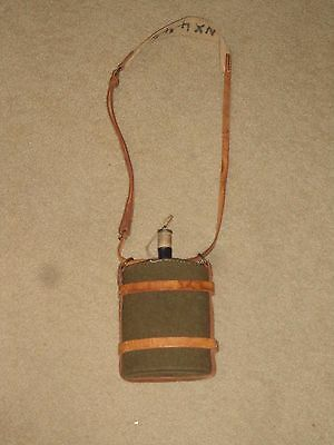 Original  Blue Enamel Canteen With Wool Cover & Leather Carrier