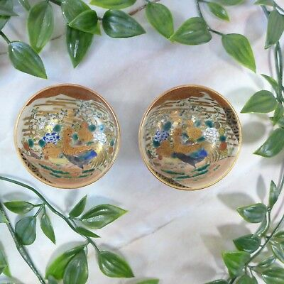 Pair of Antique Small Hand Painted Japanese Ceramic Gold Rooster Sauce Dishes