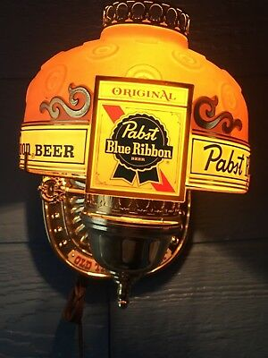 Vintage PABST Blue Ribbon Beer Bar Light  Lamp Works! On/off switch on cord