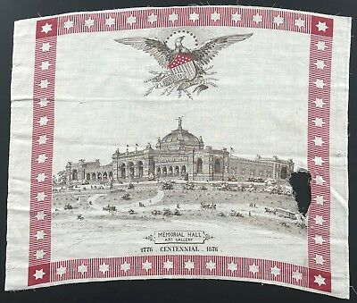 Antique 1876 World's Fair Centennial International Exposition Fabric Panel