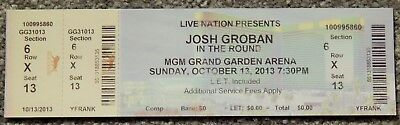 Josh Groban In The Round Original Concert Used Ticket,mgm Vegas, October 13 2013