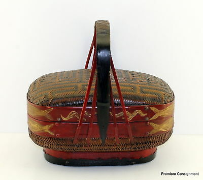 Vintage/Antique Oriental Asian Bridal Wedding Basket decorated with fish