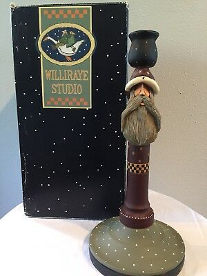 "Williraye Studio 12"" Santa Candlestick Holder WW2226 Retired + Box"