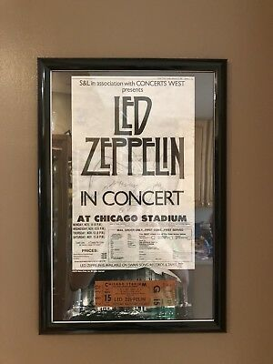 Led Zeppelin Mint 11/12/80 Concert Ticket Framed With Poster 12x18
