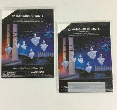 "Hanging Ghosts Decorations Tree Yard 24 NIP 8x8"" Ghost Party Scary Halloween 2Pk"