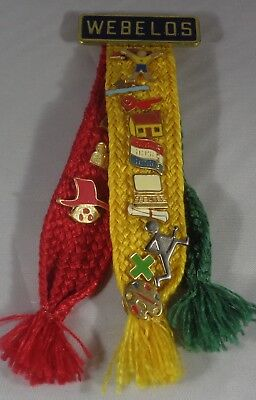 Webelos Activity Badge Tri-Color Ribbon with Assorted Pins Boy Cub Scout BSA