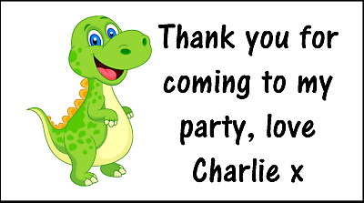 24 or 48 Personalised thankyou for coming to my party stickers Dinosaur