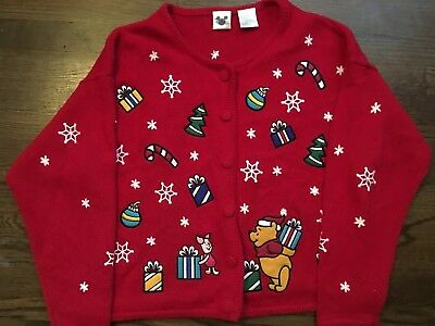 Vintage Disney Christmas Sweater Winnie the Pooh, Piglet Ugly Rare XL