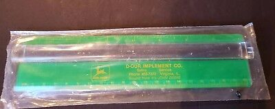 """New JOHN DEERE 8"""" Ruler &  Magnifying Glass D-OUR IMPLEMENT Virginia IL."""