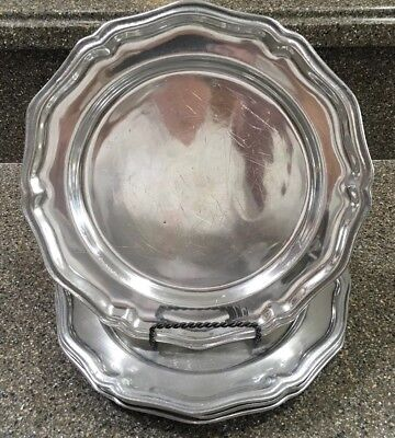"""Set Of 4 Wilton Armetale RWP Pewter Queen Anne 10.5"""" Dinner Plates Made In USA"""