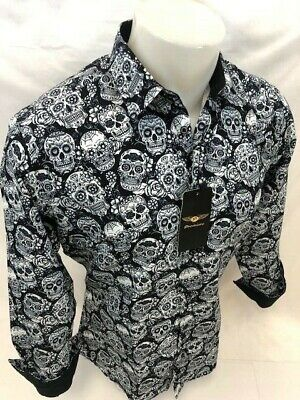 Mens PREMIERE Long Sleeve Button Down Dress Shirt BLACK WHITE ABSTRACT SKULL 127