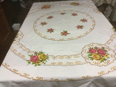 Vintage Floral Embroided Look Round Tablecloth