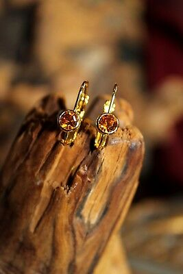 SWAROVSKI Austrian Golden Topaz Crystal Gold Tone Leverback Pierced Earrings