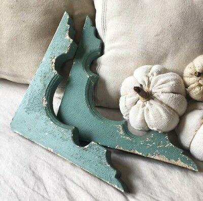 Pair Architectural Salvage Wood Corbels Chippy Paint Blue Green Antique Vintage