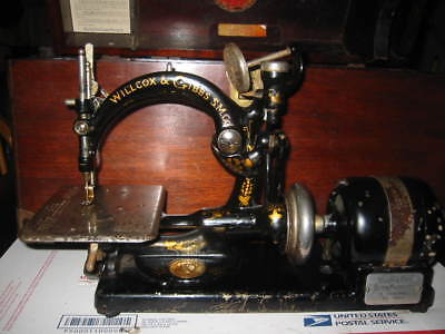 Antique 1890's Willcox & Gibbs Sewing Machine, Electric Motor Works W/case