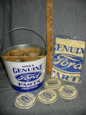 Ford Genuine Parts Pint Glasses Metal Bucket Coaster Towel Promo Gift Set