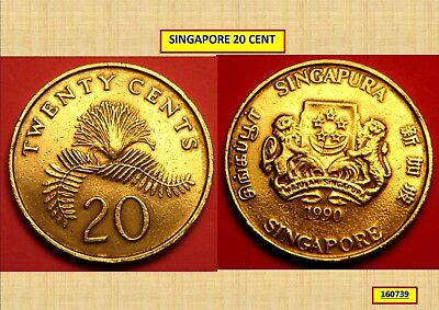 1990 Singapore 20 Cent Coin 160739