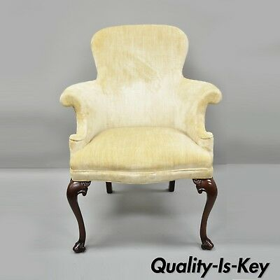 Southwood Queen Anne Style Mahogany Chair Upholstered Armchair Cabriole Legs