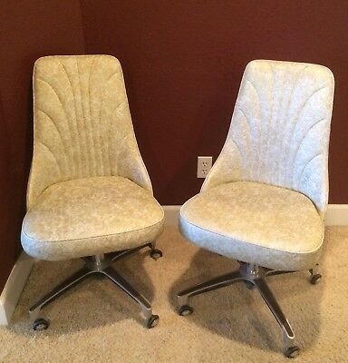 2 Vintage Chromcraft Kitchen Chairs Gold Cream Mid Century Modern Dining MINT