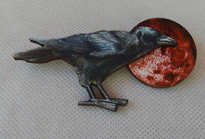 Pin Raven Blood Moon Brooch Wooden Lapel Accessories Fashion Halloween Black