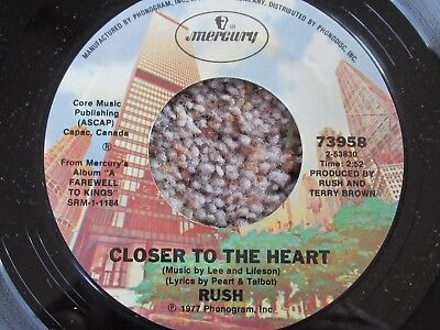 """RUSH 45 RPM 7"""" record Closer to the Heart / Madrigal (A Farewell to Kings)"""