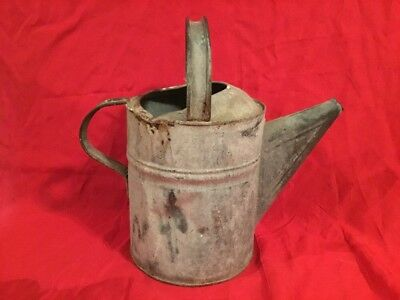 Old #10 Galvanized Metal Garden Art Plant Flower Sprinkler Handle Watering Can