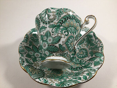 Royal Standard Fine Bone China England Green Paisley Cup And Saucer 1445
