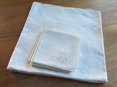 Embroidered White Linen Tablecloth  6 Napkins Vintage Drawn Work