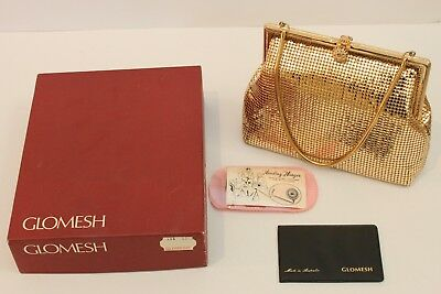 Vintage Genuine Glomesh Hand Bag in Box with Mirror Case - Gold - 1970s - GVC