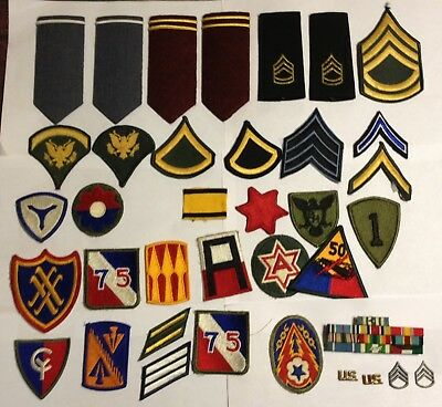 46 US Army Items, 4 insignia's 10 Ribbons 6 Shoulder Boards & 26 Patches    3818