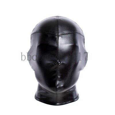 3D Cut Full Head Tie Bondage Black PU Leather Adjustable Hood Cosplay Mask Props