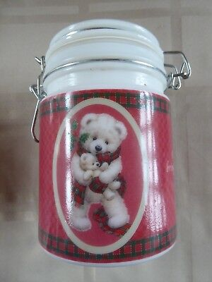 "2003 Morehead Inc. Glass Canister W/locking Lid ""sweet Dreams Bear W/cub Tea Jar"