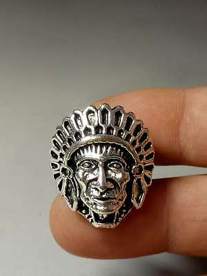 Chinese Collectable Tibet Silver Hand Carved Chiefs Ring   Z260