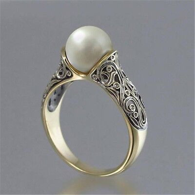 Vintage S925 Silver Gold Plated Jewelry Ring Artificial White Pearl Women Rings