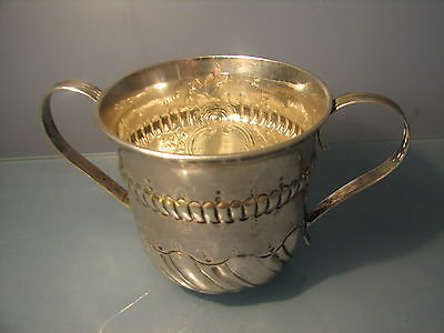 Solid silver Georgian two handled silver cup dated 1767 George III loving cup