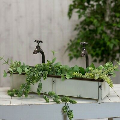 White Metal Planter Box with Two Decorative Water Faucets Antique Finish