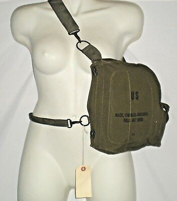 US Army Gas Mask CANVAS BAG Chemical Biological Field M17 Series New Old Stock