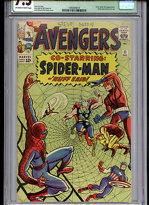 Avengers #11 CGC 7.5 Qualified Spider-Man Crossover OWTW Pages