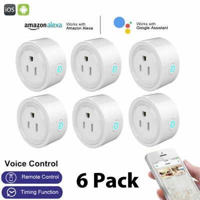 6Pack WiFi Smart Plug Power Switch Outlet Alexa Google Home Echo Wireless Socket