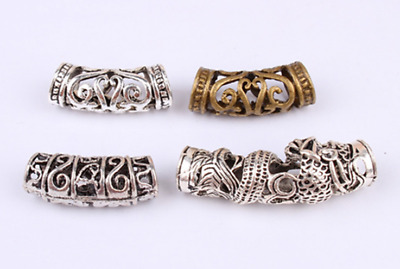 8 PCs/lot DIY Tibetan Carved Silver Metal Beads Dreadlock Beads dread hole 7mm