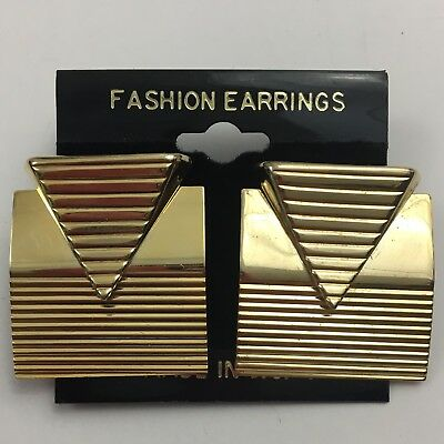 Vintage Art Deco Style Fashion Earrings Gold Tone NOS 80s 90s Funky Pierced