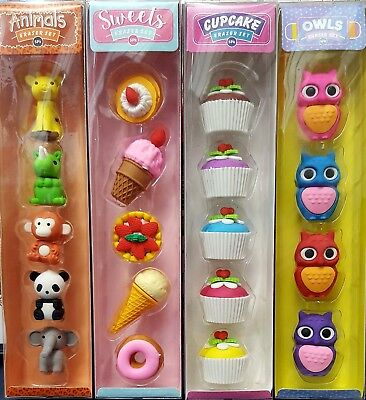 20 x Novelty Erasers for kids (Animals, Owls, Cup cakes and Sweet.Treat)