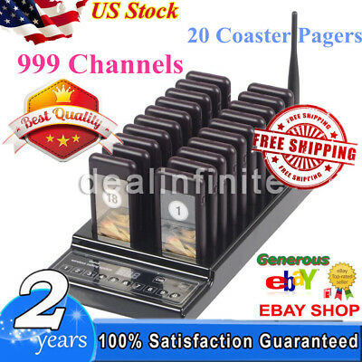 20 Restaurant Coaster Pager 999Ch Wireless Paging System Queuing Guest Calling