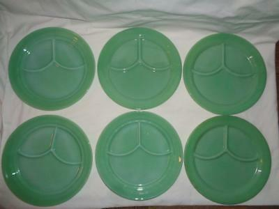 6 Fire King Oven Glass Jadeite 3 Part Grill Dinner Plate Restaurant Ware Divided
