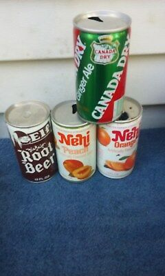4 Diff Crimp Steel Soda Can Cans