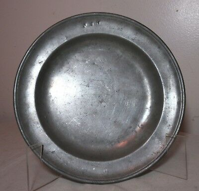 rare antique 18th century London English touchmark forged pewter plate dish bowl